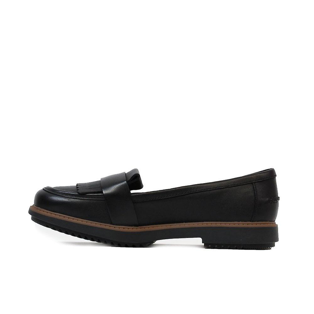 Clarks Raisie Theresa Black Womens Slip Auf Loafer Schuhe