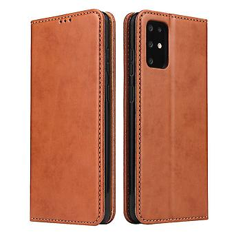 For Samsung Galaxy S20 Case Leather Flip Wallet Folio Cover Brown