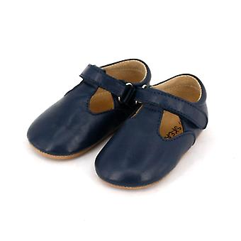 SKEANIE Leather T-Bar Shoes in Navy Blue