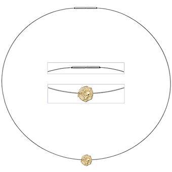 Damen Collier Kette mit Anhänger aus Edelstahl mit 585 Gold kombiniert matt 42 cm