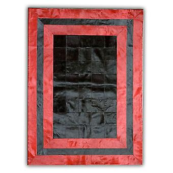 Rugs -Patchwork Leather Cubed Cowhide - SR2 Black & Red