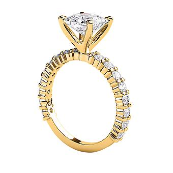 2.1 Carat E SI1 Diamond Engagement Ring 14K Yellow Gold Solitaire w Accents 4 Prongs Princess
