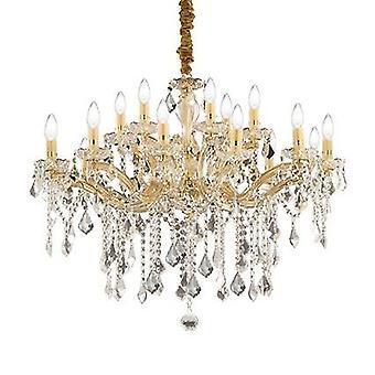 Ideal Lux - Florian or fini lustre lumière dix-huit avec verre clair et cristaux IDL075181