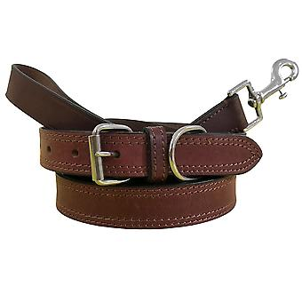 Bradley crompton genuine leather matching pair dog collar and lead set bcdc17brown