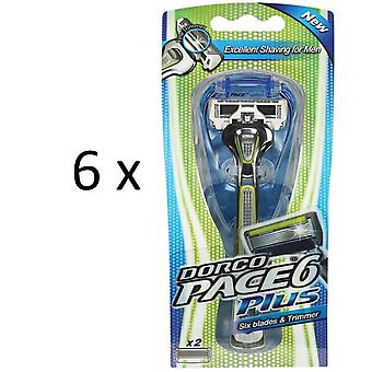 Dorco Pace 6 Plus Razor for Men Savings pack with 6 razor + 12 razor blades