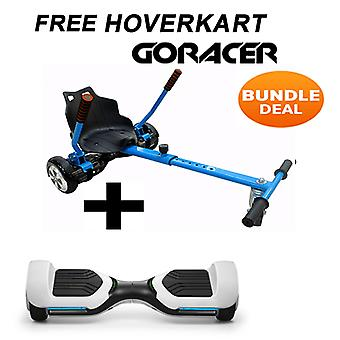 G PRO White Segway with a Racer Hoverkart in Blue