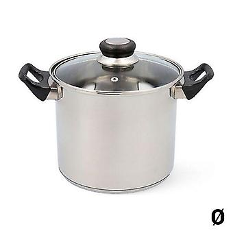 Pot with Glass Lid Quid Habitat Stainless steel 28cm