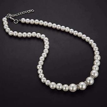 Elfenbein Perle Perle und Kristall akzentuiert Halskette