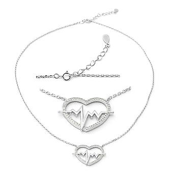 ELANZA Heart lifeline Cubic Zirconia CZ Necklace Sterling Silver, 1.13 Ct