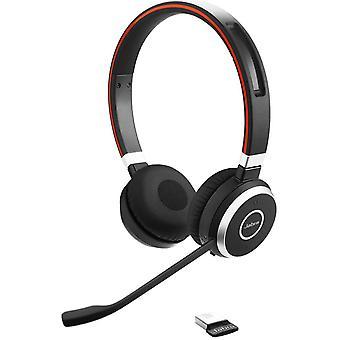 Jabra evolve 65 wireless stereo on-ear headset, uc headphones, with link 370 usb bluetooth adaptor; black