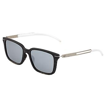 Earth Wood Doumia Polarized Sunglasses - Black Butterfly/Silver