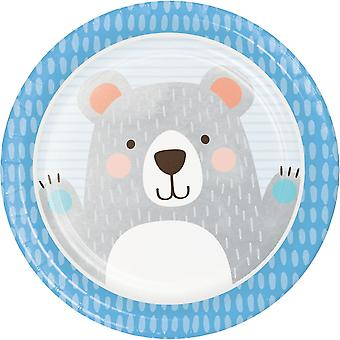 Blue Teddy Bear Birthday Paper Party Plates x 8
