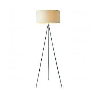 Tri Floor Lamp, Chrome, With Lampshade