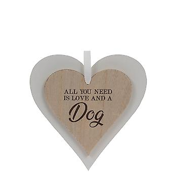 Sentiments Tout ce dont vous avez besoin est l'amour et une plaque de coeurs en bois de chien