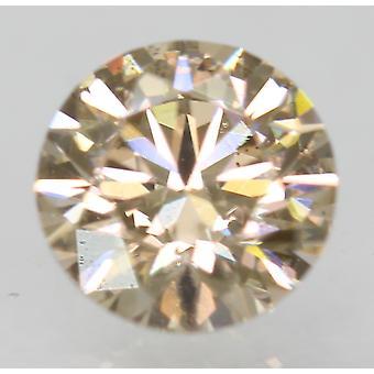 Cert 0.79 Carat Light Brown VVS2 Round Brilliant Natural Loose Diamond 5.94mm