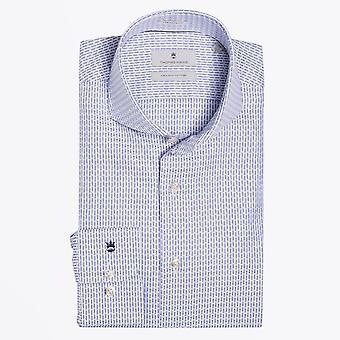 Thomas Maine  - Woven Pattern Shirt - Blue