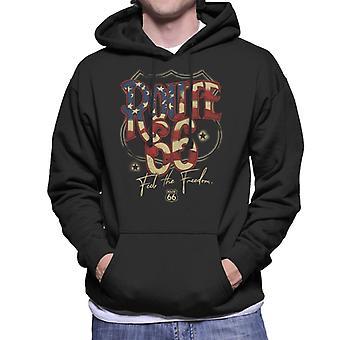 Route 66 US Flag Text Men's Hooded Sweatshirt