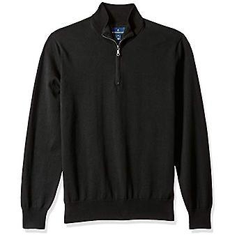 KNAPPET NED Mænd's Supima Cotton Lightweight Quarter-Zip Sweater, sort, Stor