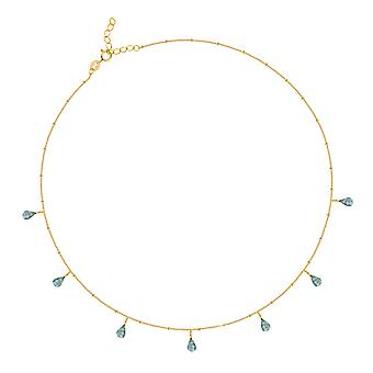 ADEN Gold Banhado 925 Sterling Silver faceted Labradorite Necklace (id 4527)