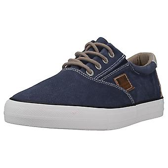 Mustang Lace-up Low Top Mens Casual Trainers em Azul Escuro