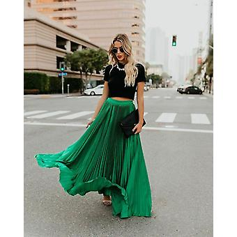 Women's Pleated Elastic Waist Long Maxi Evening Cocktail Party Skirt
