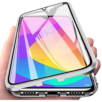 Mobiilikotelo, jossa on sisäänrakennettu näytönsuoja Xiaomi Mi CC9 : lle - hopea