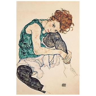 Print on canvas - Woman Sitting With The Folded Leg - Egon Schiele - Painting on Canvas, Wall Decoration