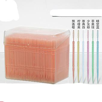 1100pcs Gum Interdental Floss Plástico Double Headed Brush Stick Toothpicks Dentes Limpador Oral