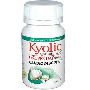 Kyolic, Aged Garlic Extract, One Per Day, Cardiovasculair, 1.000 mg, 30 Caplets