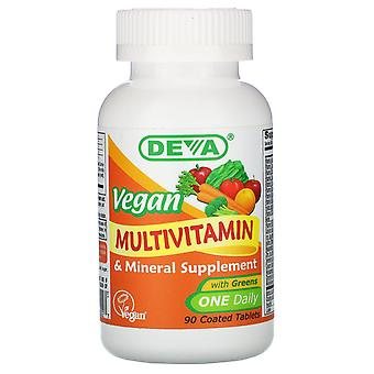Deva, Vegan Multivitamin & Mineral Supplement, One Daily, 90 Coated Tablets