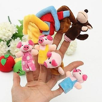 Three Little Pigs Finger Puppets, Kids Educational Hand Story Telling Toy