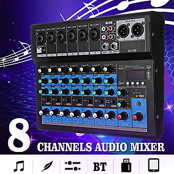 8 Channel Sound Mixer Console 48V Digital Microphone Bluetooth Powerful Professional Karaoke for Audio Mixer Amplifier