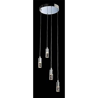 Firstlight Focus - LED 4 Light Cluster Pendentif Chrome, Clear Acrylique Bubble Shade