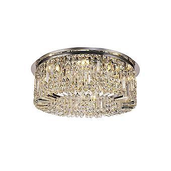 Luminosa Lighting - 65cm rund flush lysekrone, 8 lys E14, polert krom, krystall