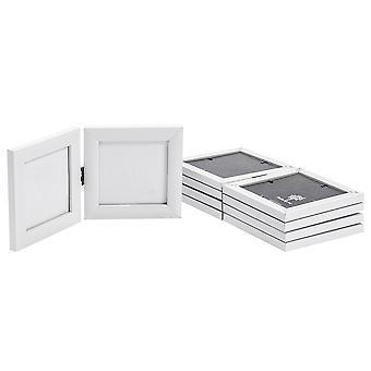Weiß 4 x 4 Klappdoppel Fotorahmen - stehend - Packung mit 5