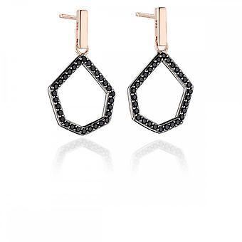 Fiorelli Silver Revised Black Pave Open Shape Earrings E5453B