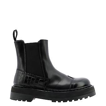 Premiata M4972nero Women's Black Leather Ankle Boots
