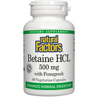 Luonnolliset tekijät Betaine HCL, 500 mg, 180 Korkkia
