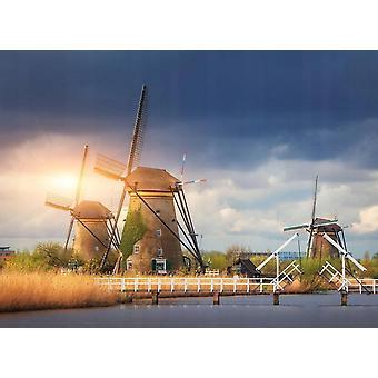 Sfondo Mural Mulini a vento Kinderdijk Tramonto