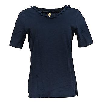 Belle Par Kim Gravel Femmes's Top Short Sleeve V Neck Blue A351260