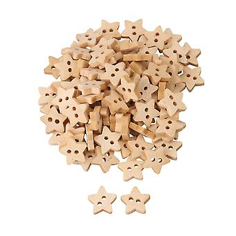 100x Five-pointed Star Shape Wooden Buttons Sewing Buckles w/ 2 Holes