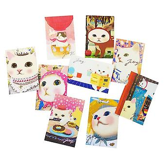 10 Pcs/lot Cute Cats Postcards Group Cartoon Christmas / Birthday Greeting Card