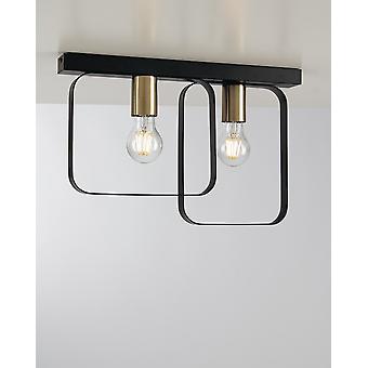 Twin Flush Deckenlichtrahmen, gebürstetes Gold, E27