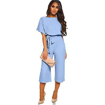 Short Sleeve Sky Blue Always Chic Belted Culotte Jumpsuit