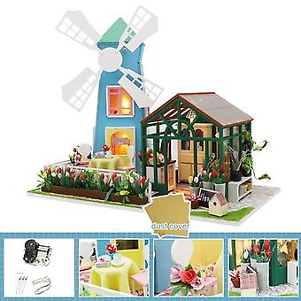Diy House Miniature With Furniture Led Music Dust Cover Model Building Blocks