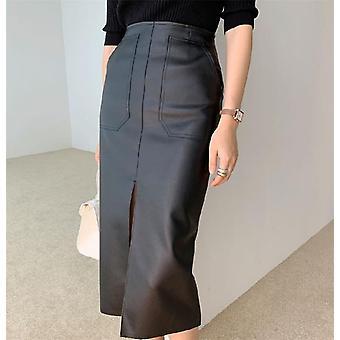 Spring Women High Waist Pockets Hip Skirt Front Split Zipper Midi Pencil Skirts