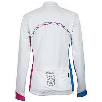 Eigo Ribbon Womens Long Sleeve Cycling Jersey White / Cyan / Magenta
