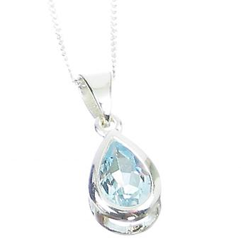 Blue Topaz Sterling Silver Pendant On A 16 Inch Chain Necklace .925 - 6543