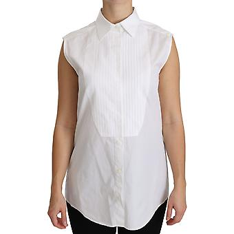 Hvid collared ærmeløs Polo shirt Top