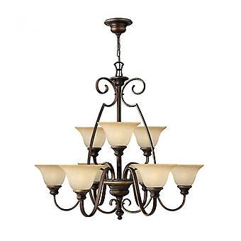 Lámpara Colgante De Violonchelo, Bronce Antiguo Y Vidrio De Alabastro, 9 Bombillas